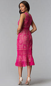 Image of crocheted-lace flounce-hem wedding-guest party dress. Style: JX-1XDL365Q Back Image