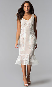 Image of crocheted-lace flounce-hem wedding-guest party dress. Style: JX-1XDL365Q Front Image