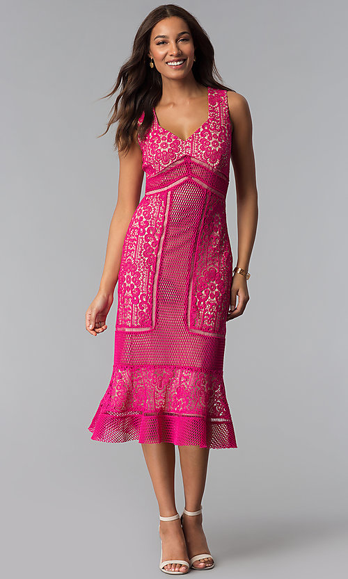 Image of crocheted-lace flounce-hem wedding-guest party dress. Style: JX-1XDL365Q Detail Image 1