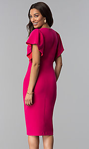 Image of hot pink v-neck wedding guest dress. Style: JX-1ZQL217H Back Image