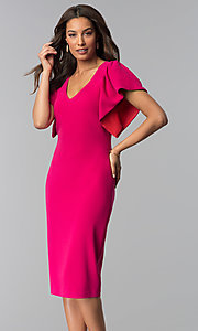 Image of hot pink v-neck wedding guest dress. Style: JX-1ZQL217H Detail Image 1