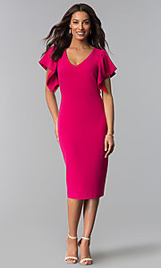 Image of hot pink v-neck wedding guest dress. Style: JX-1ZQL217H Detail Image 2