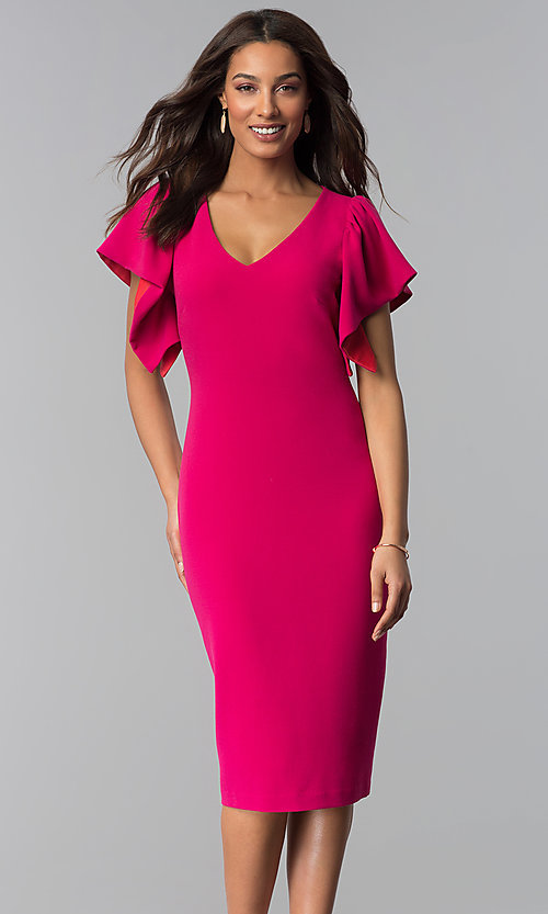 Image of hot pink v-neck wedding guest dress. Style: JX-1ZQL217H Front Image