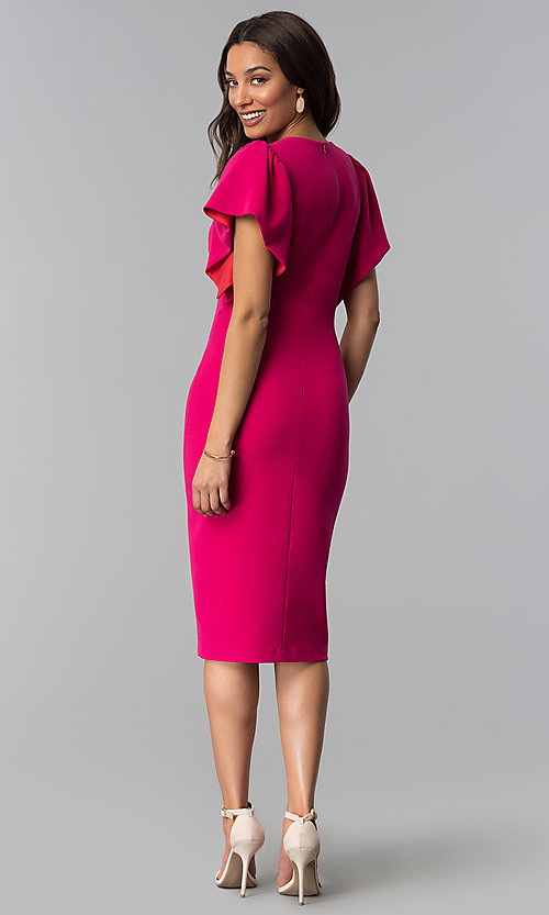 Image of hot pink v-neck wedding guest dress. Style: JX-1ZQL217H Detail Image 3
