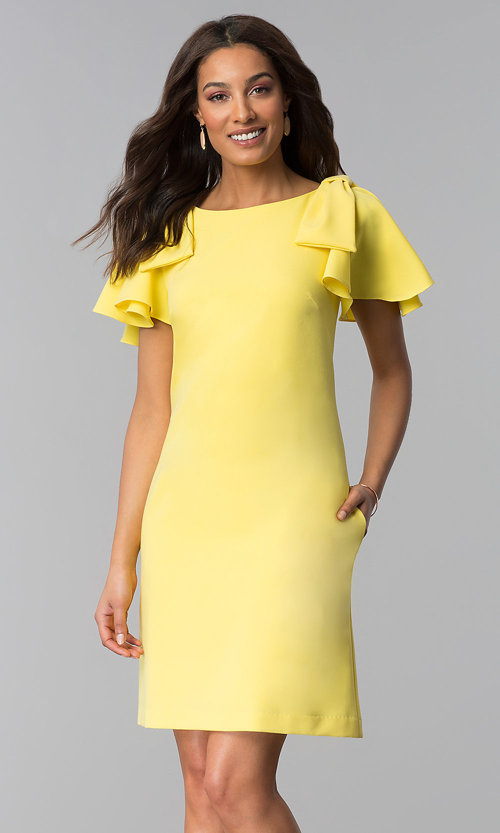 Yellow Short Wedding Guest Dress With Sleeves