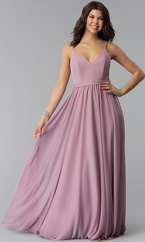 Image of mauve long chiffon v-neck prom dress. Style: NM-18-569 Front Image