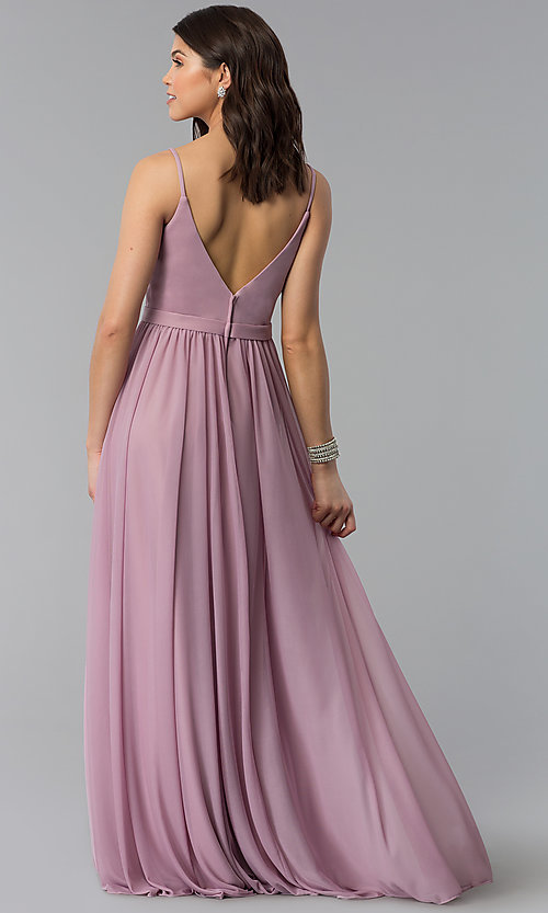Image of mauve long chiffon v-neck prom dress. Style: NM-18-569 Back Image