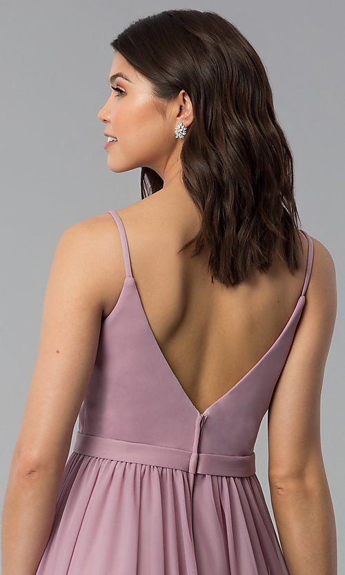 Image of mauve long chiffon v-neck prom dress. Style: NM-18-569 Detail Image 2