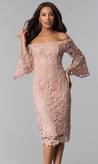 c46219ab8bd Off-the-Shoulder Lace Wedding-Guest Dress