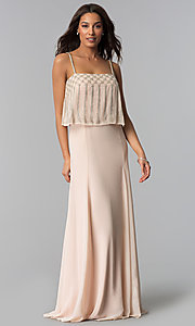 Image of long spaghetti-strap formal dress in blush pink. Style: JU-MA-264364 Front Image