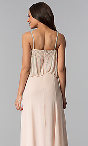 Image of long spaghetti-strap formal dress in blush pink. Style: JU-MA-264364 Detail Image 2