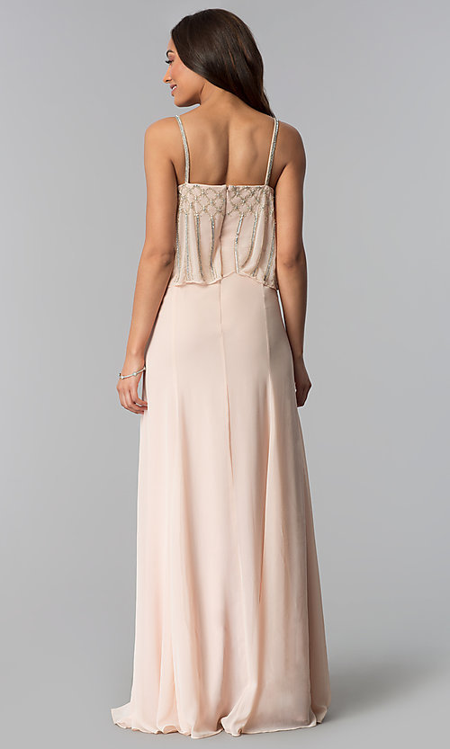 Image of long spaghetti-strap formal dress in blush pink. Style: JU-MA-264364 Back Image