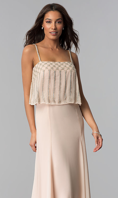 Image of long spaghetti-strap formal dress in blush pink. Style: JU-MA-264364 Detail Image 1
