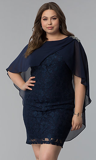 Glitter Lace Plus-Size Wedding Guest Party Dress