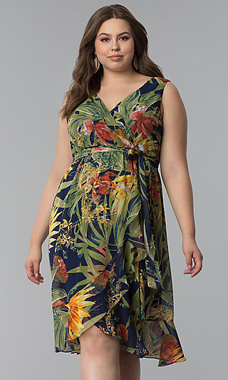 Tropical Print Plus-Size V-Neck Party Dress