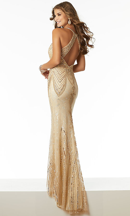Long Beaded Lace Vintage Inspired Prom Dress