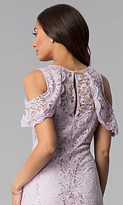 Image of lilac cold-shoulder short lace sheath party dress. Style: JU-TI-T1250 Detail Image 2