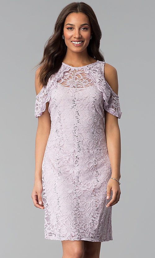Image of lilac cold-shoulder short lace sheath party dress. Style: JU-TI-T1250 Front Image