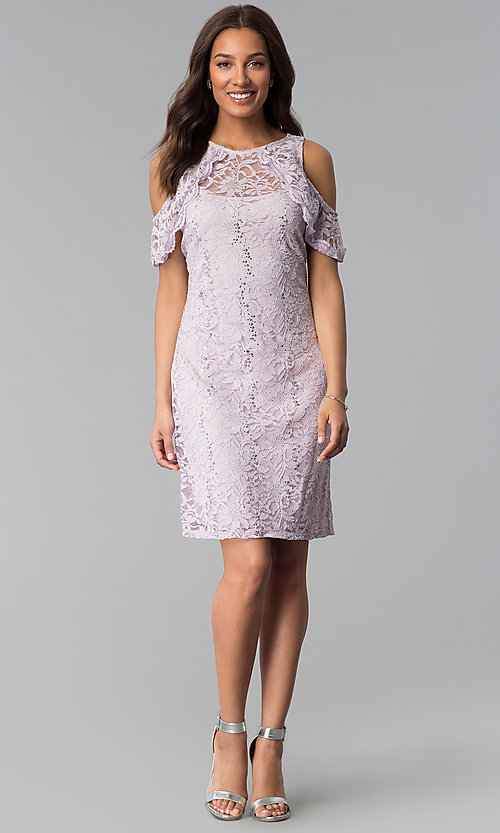 Image of lilac cold-shoulder short lace sheath party dress. Style: JU-TI-T1250 Detail Image 3