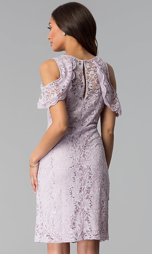 Image of lilac cold-shoulder short lace sheath party dress. Style: JU-TI-T1250 Back Image