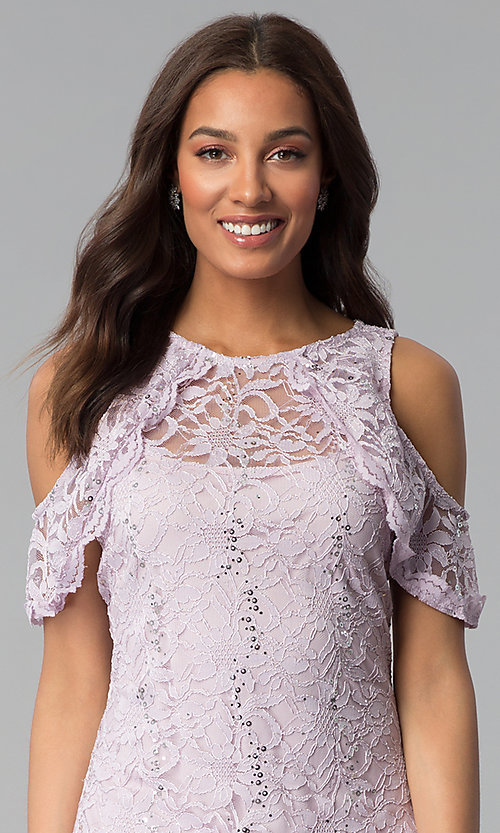 Image of lilac cold-shoulder short lace sheath party dress. Style: JU-TI-T1250 Detail Image 1