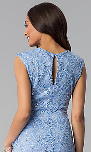Image of blue knee-length sequin-lace wedding-guest dress. Style: JU-TI-T1252 Detail Image 2