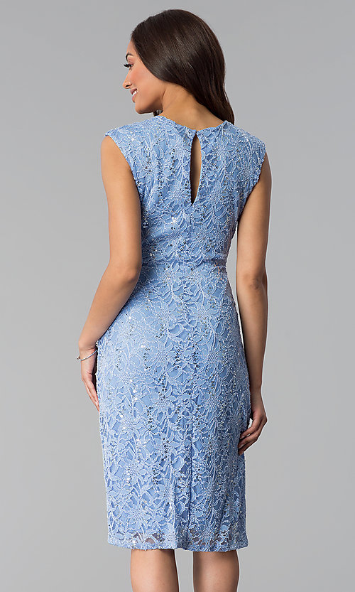 Image of blue knee-length sequin-lace wedding-guest dress. Style: JU-TI-T1252 Back Image