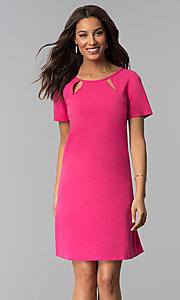 Image of pink short-sleeve wedding guest dress. Style: JU-TI-T1646 Front Image