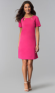 Image of pink short-sleeve wedding guest dress. Style: JU-TI-T1646 Detail Image 1