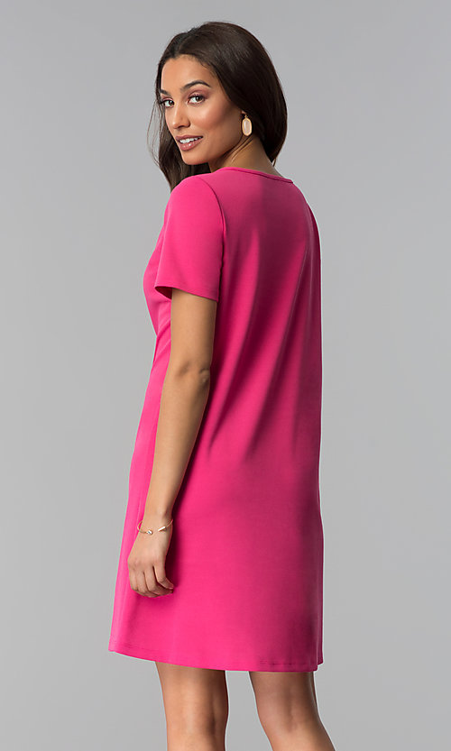 Image of pink short-sleeve wedding guest dress. Style: JU-TI-T1646 Back Image