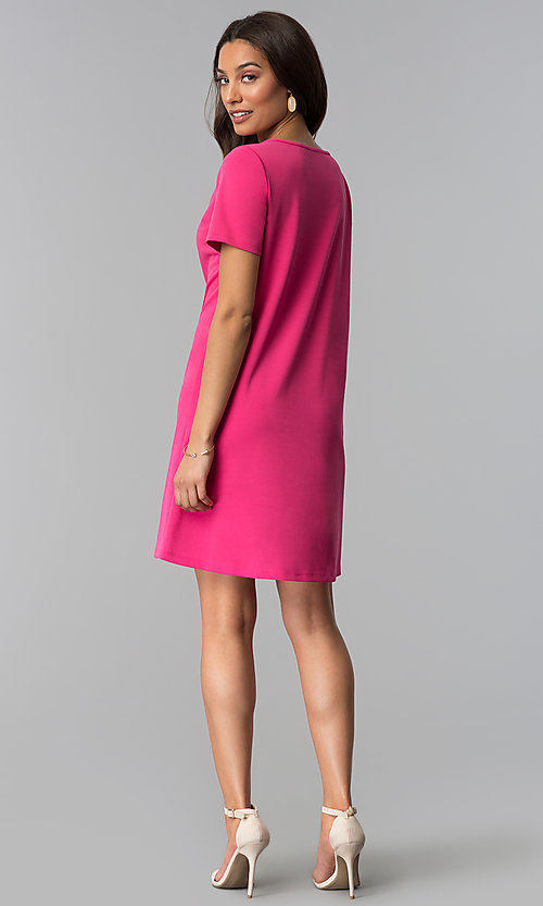 Image of pink short-sleeve wedding guest dress. Style: JU-TI-T1646 Detail Image 2