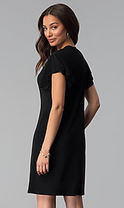Image of short black party dress with short flutter sleeves. Style: JU-TI-T1648 Back Image
