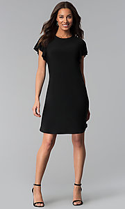 Image of short black party dress with short flutter sleeves. Style: JU-TI-T1648 Detail Image 3