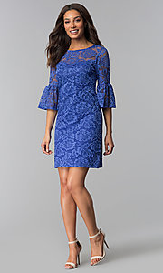 Image of short purple lace party dress with bell sleeves. Style: JU-TI-T1736 Detail Image 1