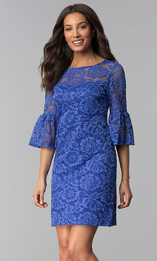 Image of short purple lace party dress with bell sleeves. Style: JU-TI-T1736 Front Image