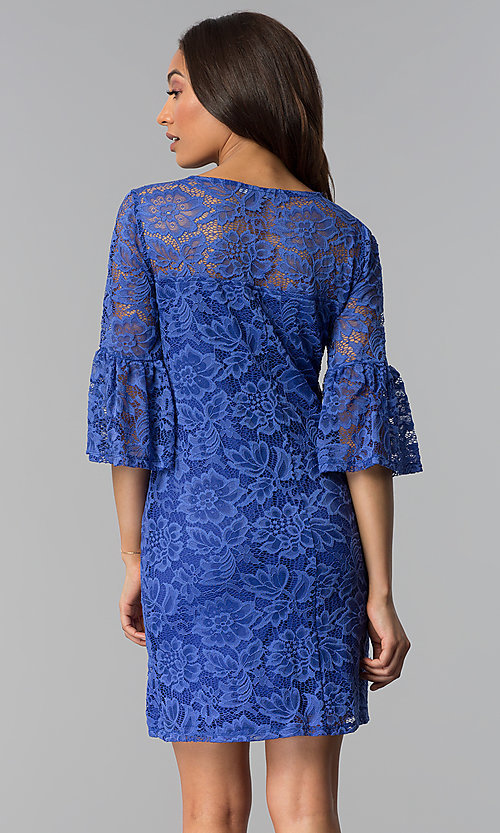 Image of short purple lace party dress with bell sleeves. Style: JU-TI-T1736 Back Image