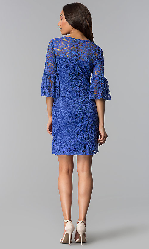 Image of short purple lace party dress with bell sleeves. Style: JU-TI-T1736 Detail Image 2