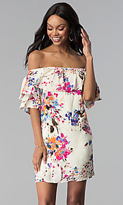 Image of shift off-the-shoulder floral-print party dress. Style: BLH-DD1014 Detail Image 3