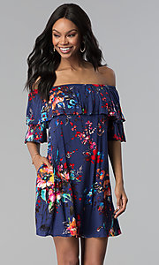 Image of shift off-the-shoulder floral-print party dress. Style: BLH-DD1014 Detail Image 1