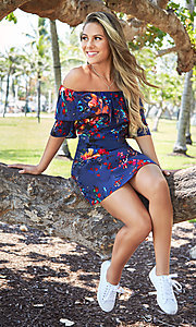 Image of shift off-the-shoulder floral-print party dress. Style: BLH-DD1014 Front Image