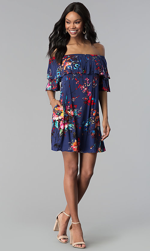 Image of shift off-the-shoulder floral-print party dress. Style: BLH-DD1014 Detail Image 2