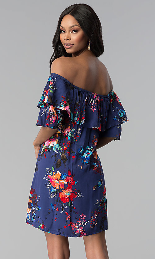 Image of shift off-the-shoulder floral-print party dress. Style: BLH-DD1014 Back Image