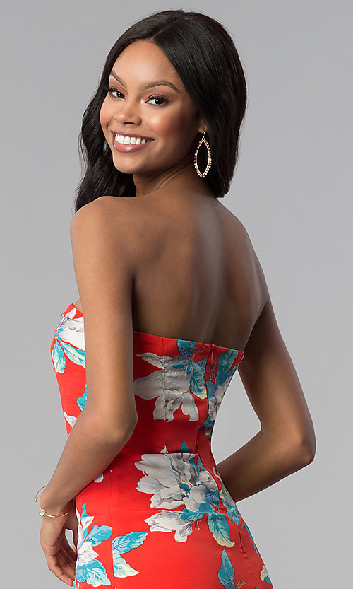 Image of strapless floral-print short red party dress.  Style: BLH-DD1031 Detail Image 2