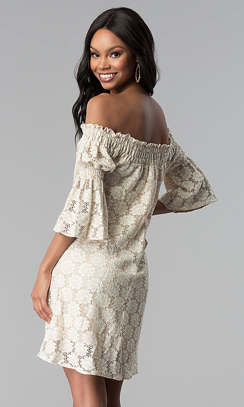 Image of short lace off-the-shoulder shift party dress. Style: BLH-DD1097 Back Image