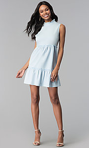 Image of high-neck ruffle short casual party dress. Style: BLH-DD1428 Detail Image 3