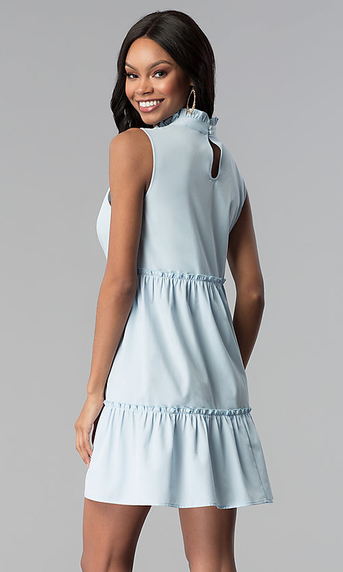 Image of high-neck ruffle short casual party dress. Style: BLH-DD1428 Back Image