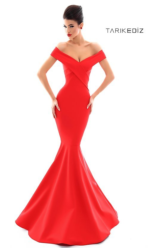 Tarik Ediz V-Neck Mermaid-Style Prom Dress