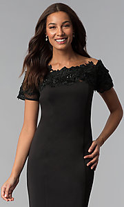 Image of midi black off-the-shoulder wedding-guest dress. Style: IT-SL112607 Detail Image 1