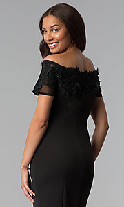 Image of midi black off-the-shoulder wedding-guest dress. Style: IT-SL112607 Detail Image 2