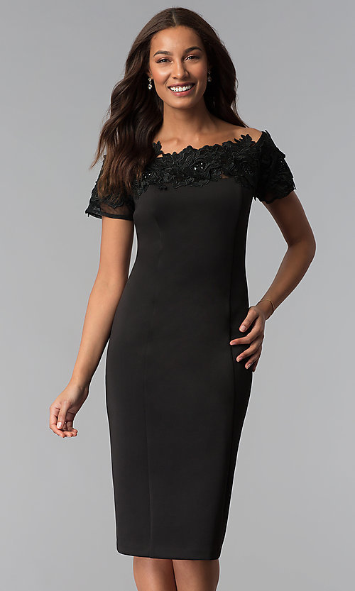 Image of midi black off-the-shoulder wedding-guest dress. Style: IT-SL112607 Front Image